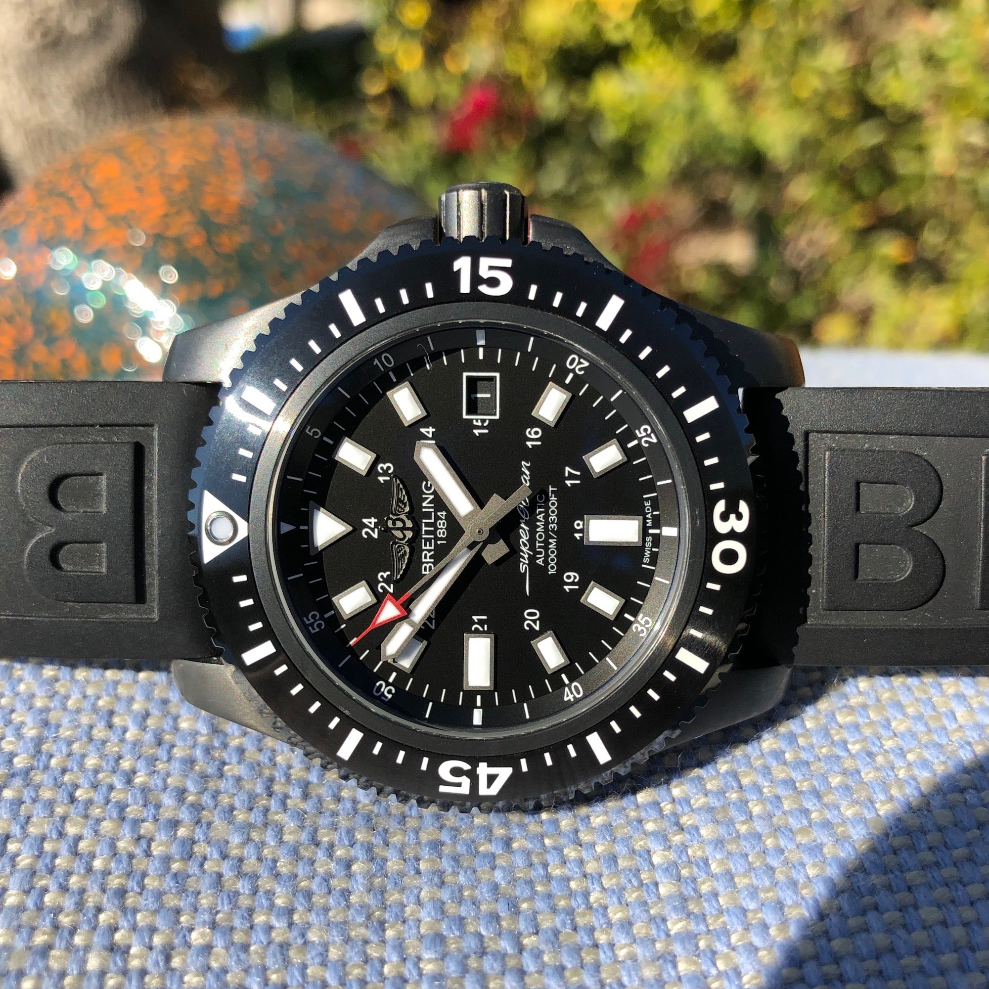 Breitling Superocean 44 Special M1739313 Black Steel Automatic Wristwatch Box Papers - Hashtag Watch Company