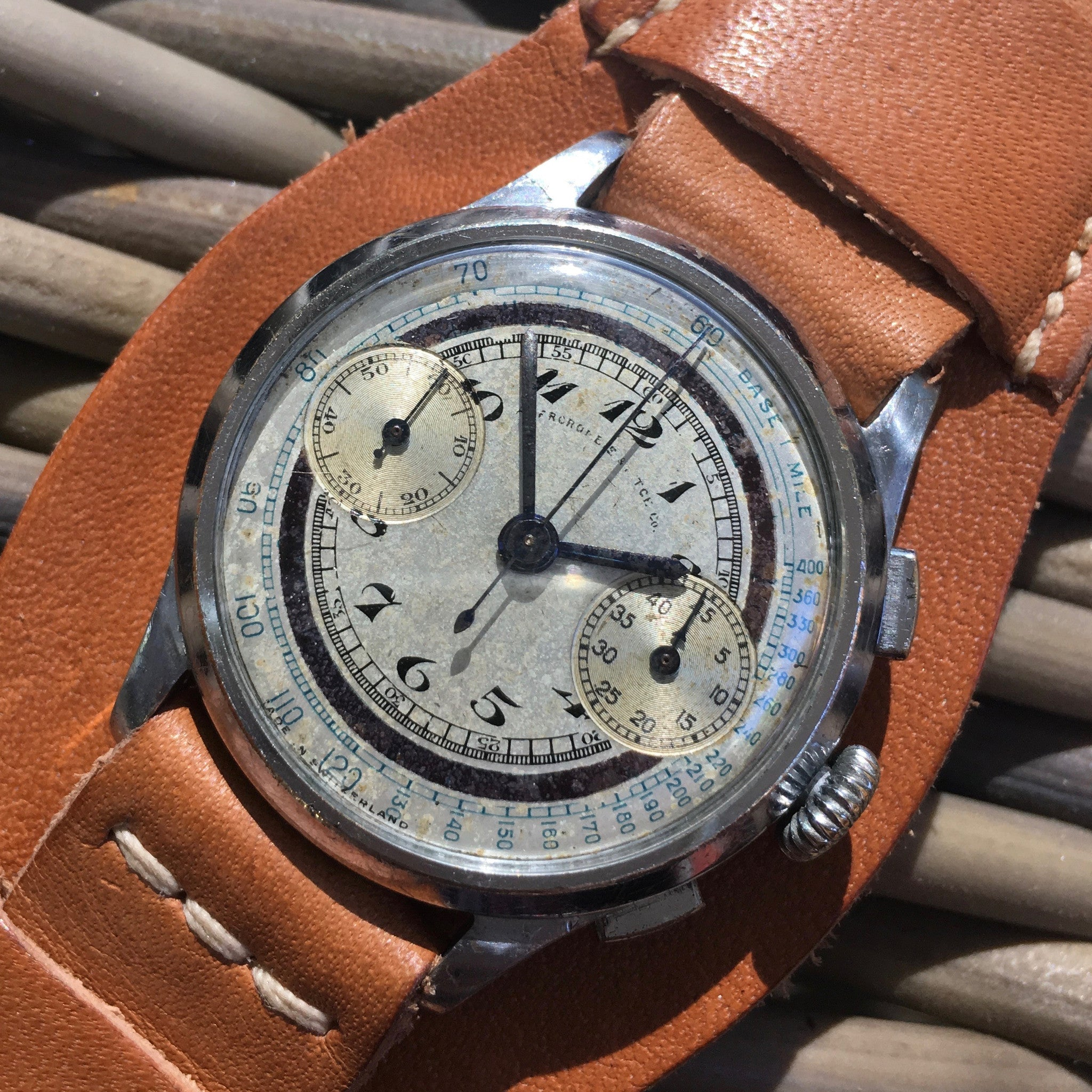 Vintage Abercrombie & Fitch Silver Dial Chromium Steel Chronograph 1930's Wristwatch