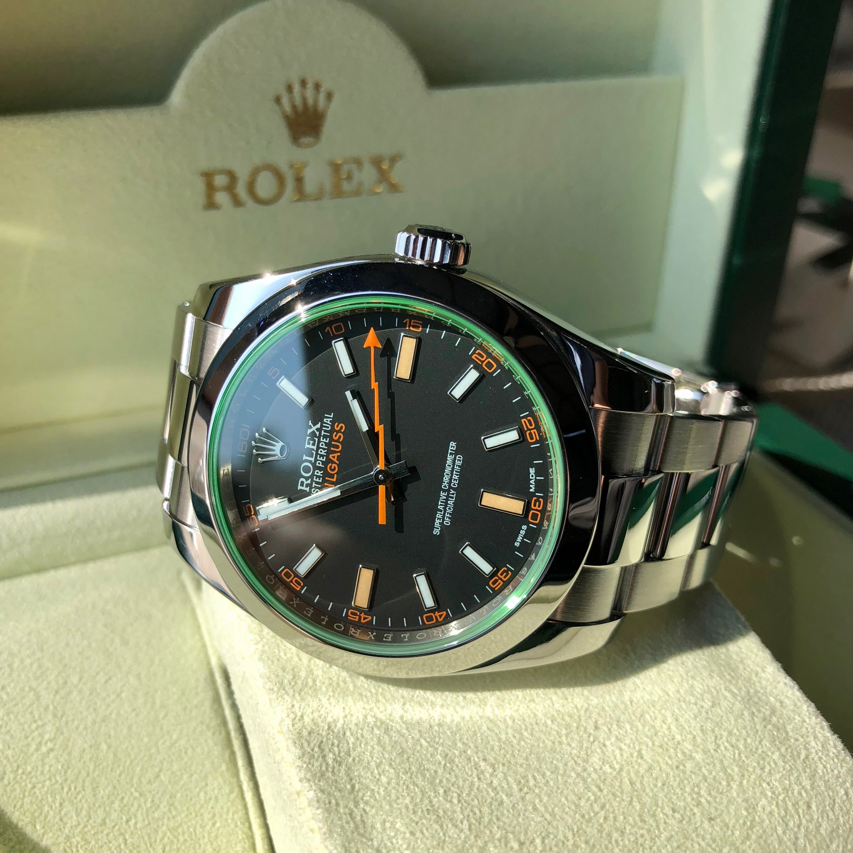 Rolex Milgauss Green 116400GV Green Steel Wristwatch Box & Papers Circa 2014