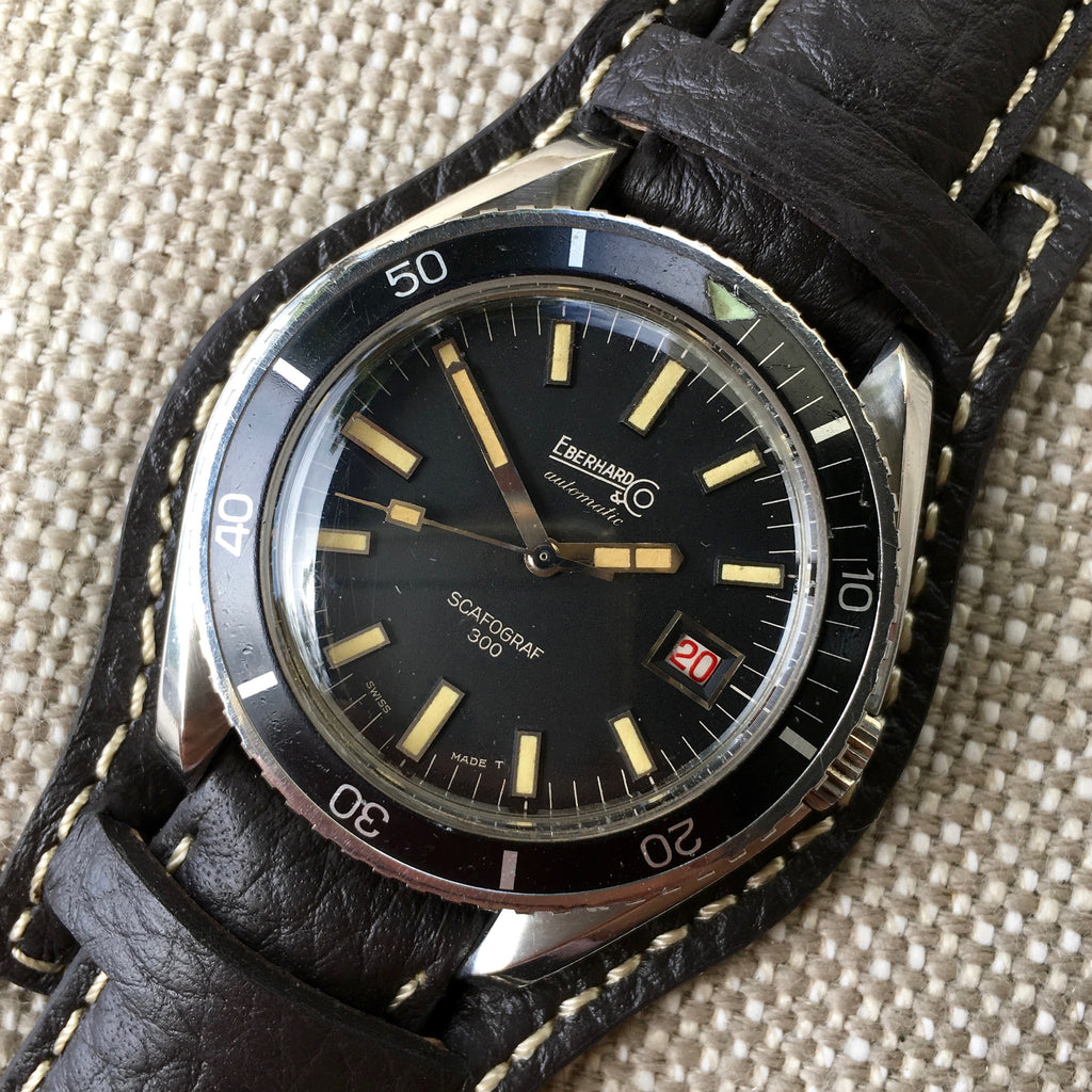 Vintage Eberhard & Co. Scafograf 300 Roulette Date Stainless Steel Watch