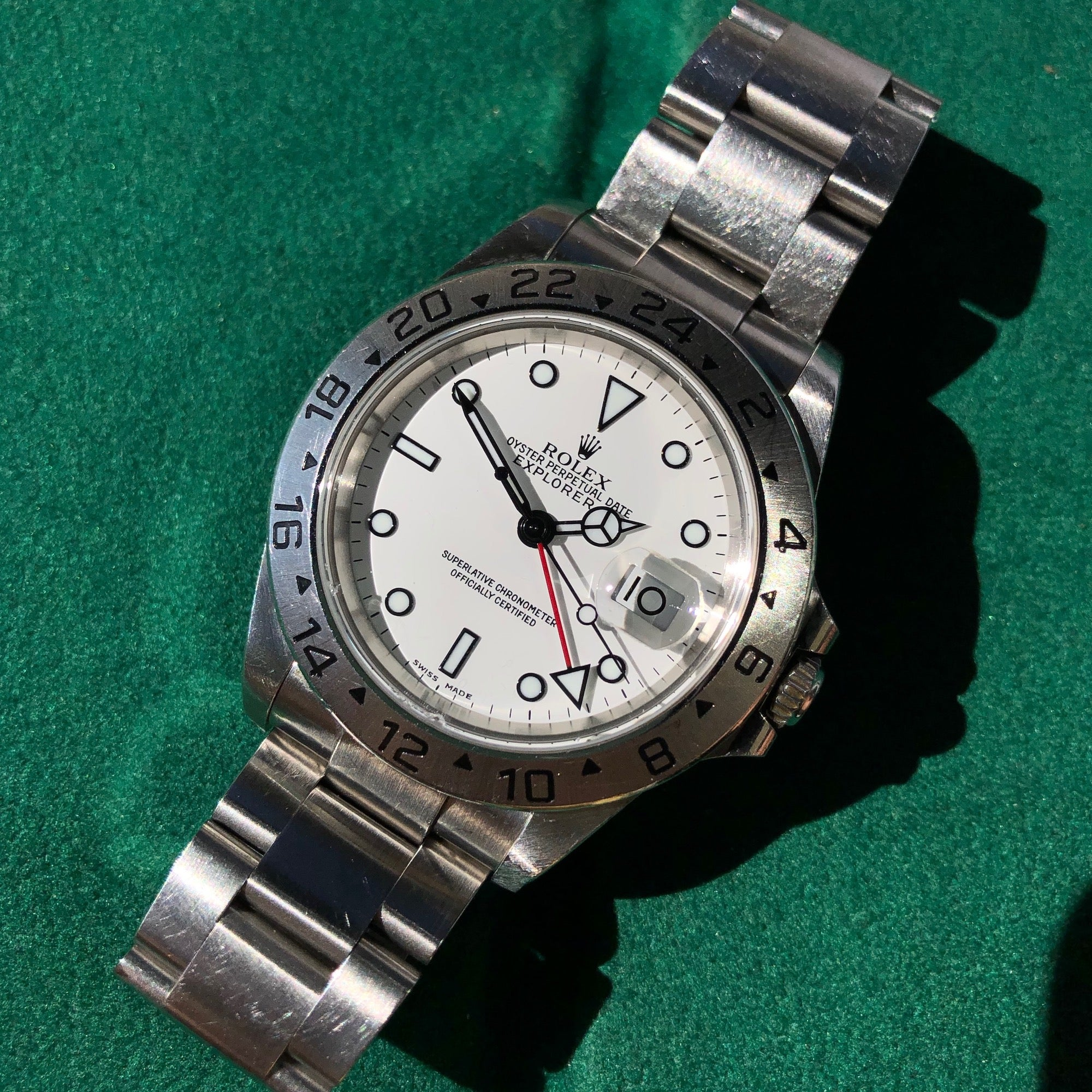Rolex Explorer II 16570 White Stainless Steel GMT Oyster Wristwatch Box Papers Circa 2000 - Hashtag Watch Company