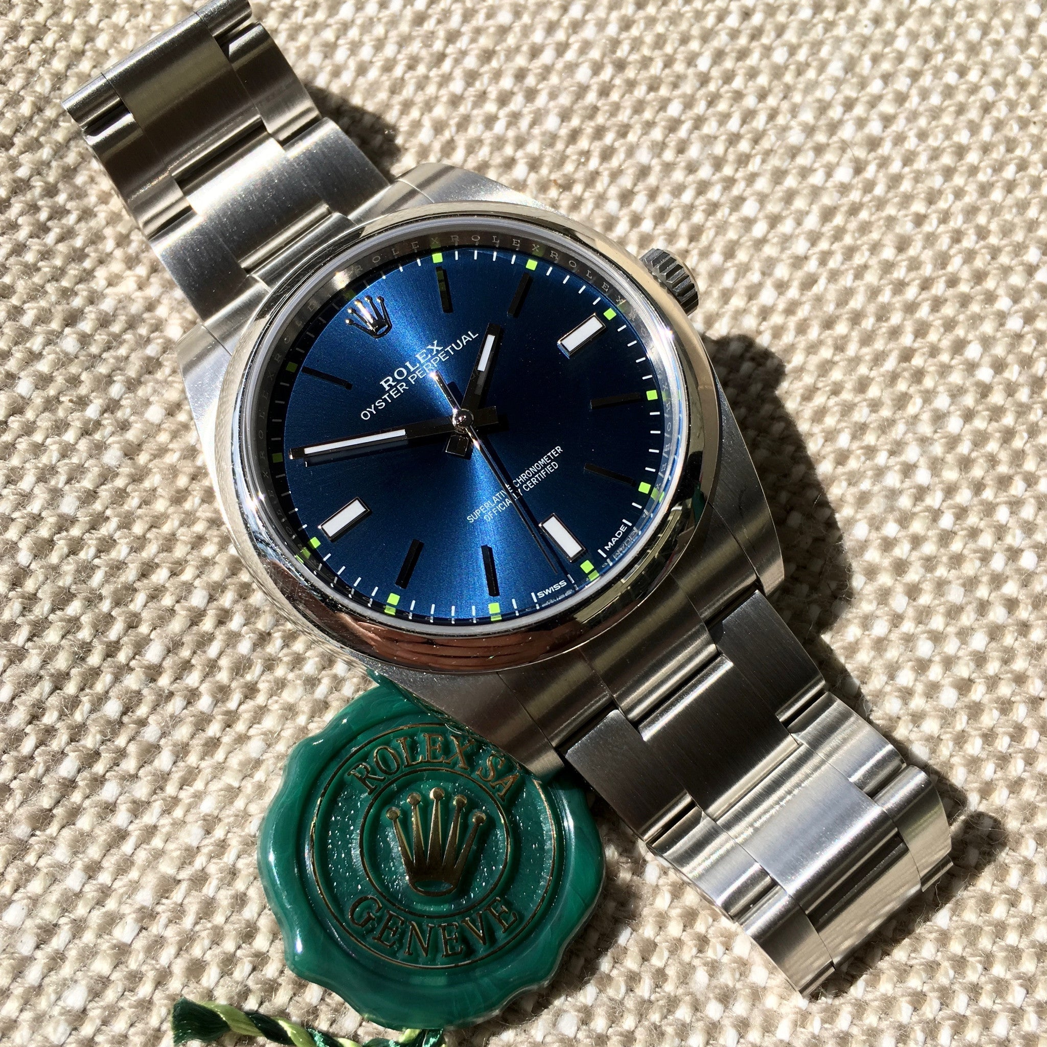 Rolex Oyster Perpetual 114300 Blue Green Stainless Steel Mens Automatic Watch - Hashtag Watch Company
