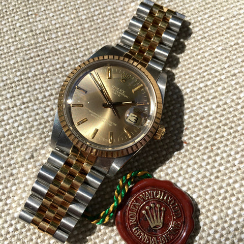 Rolex Date 15053 Two Tone Steel 18K Gold Jubilee Sepia Brown Watch Box Papers Circa 1987