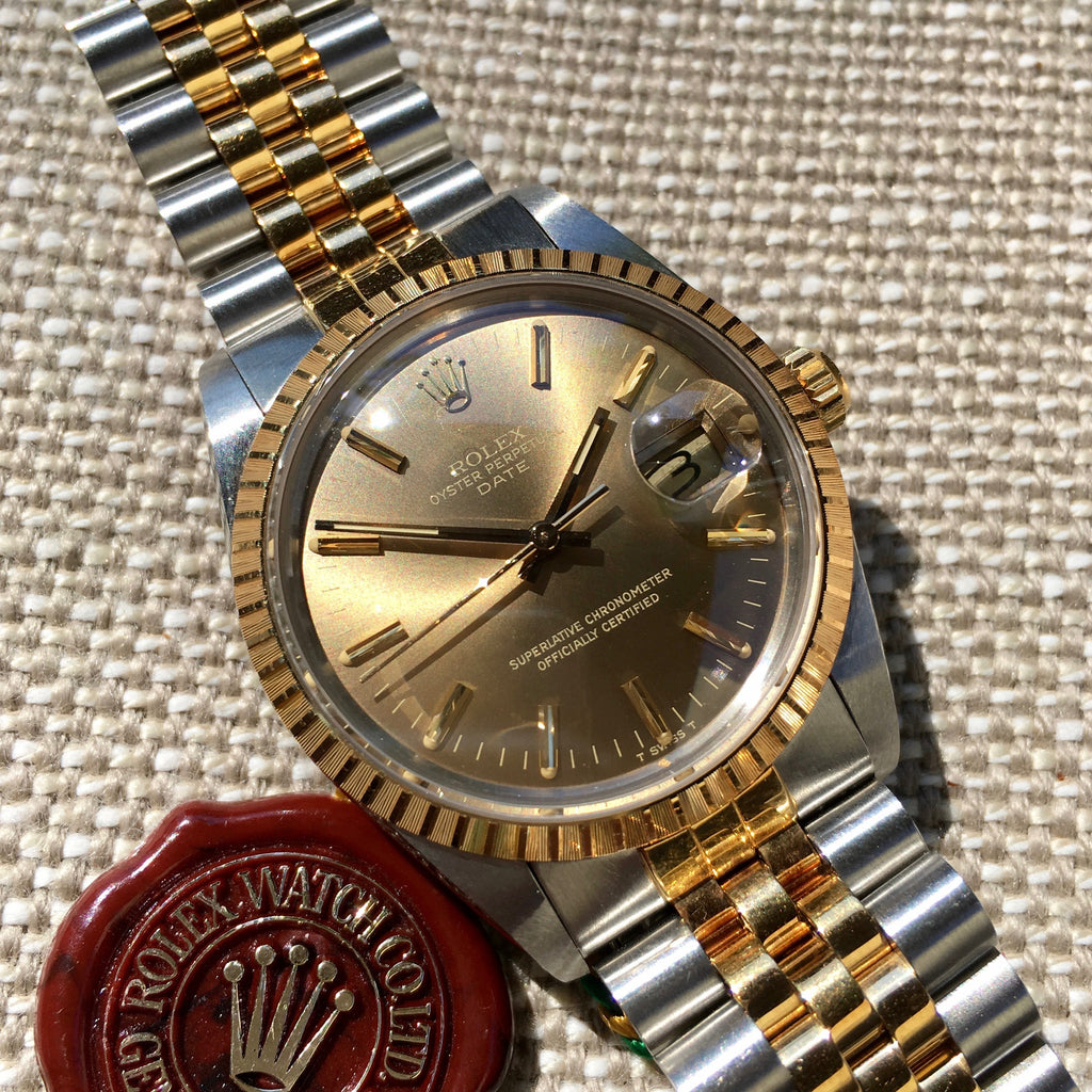 Rolex Date 15053 Two Tone Steel 18K Gold Jubilee Sepia Brown Watch Box Papers Circa 1987 - Hashtag Watch Company
