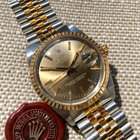 Rolex Date 15053 Two Tone Steel 18K Gold Jubilee Sepia Brown Watch w/ Papers