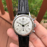 Vintage LeCoultre Stainless Steel Valjoux 72 Chronograph 35mm Triple Register Wristwatch