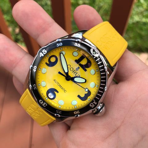 Corum Bubble Yellow 82.180.20 Automatic 45mm Stainless Steel Rubber Wristwatch Box & Papers