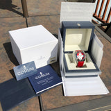 Corum Bubble Swiss Flag 163.150.20 45mm Stainless Steel Red Leather Wristwatch Box & Papers