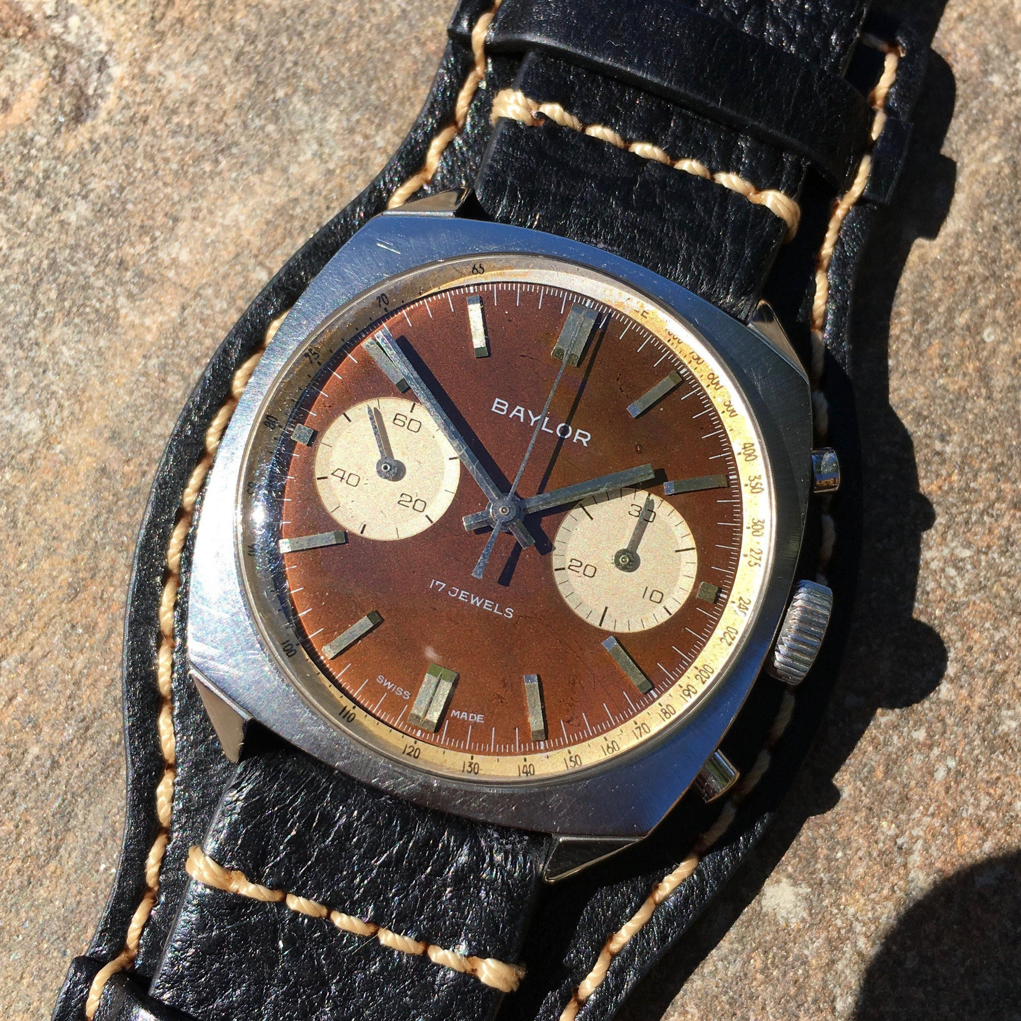 Vintage Baylor Steel Chronograph Venus 210 Brown Tropical Manual Wristwatch - Hashtag Watch Company