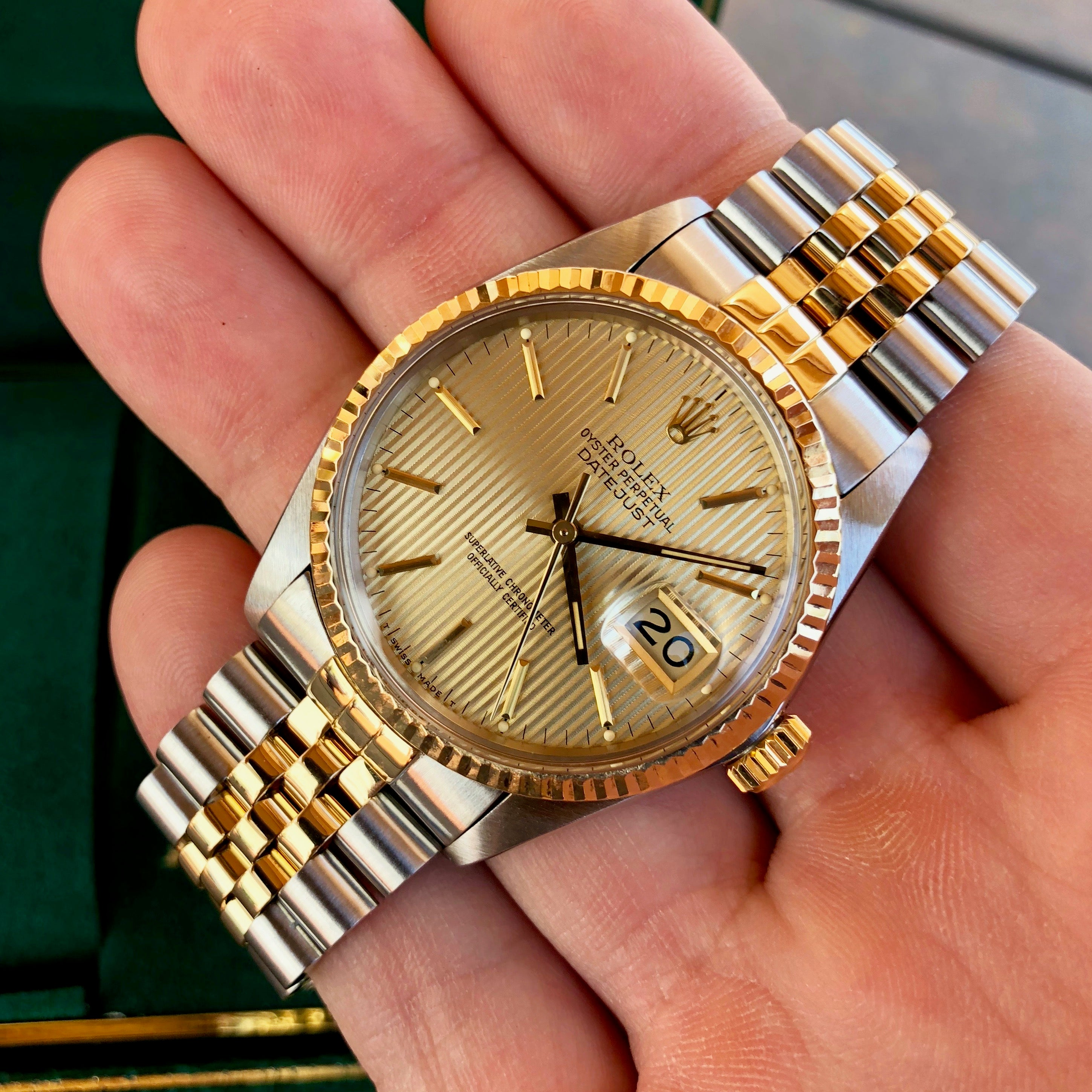 Vintage Rolex Datejust 16013 Champagne Tapestry Cal. 3035 Oyster Perpetual Two Tone Steel Gold Wristwatch Box & Papers Circa 1985