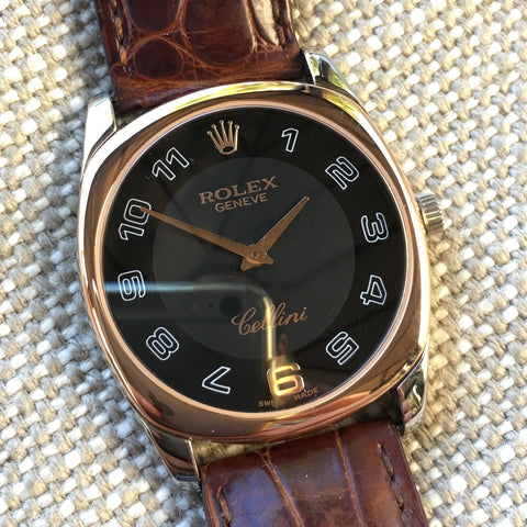 Rolex Cellini 4233 18K White Rose Gold Manual Dress Wristwatch Box Papers