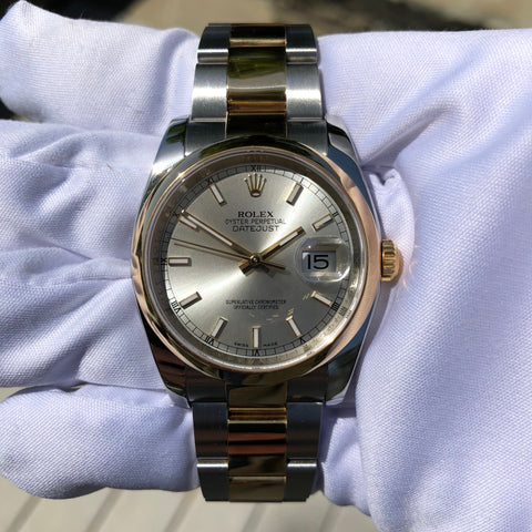 Rolex Datejust 116203 Two Tone Steel 18K Gold Silver Dial Scrambled Serial Wristwatch