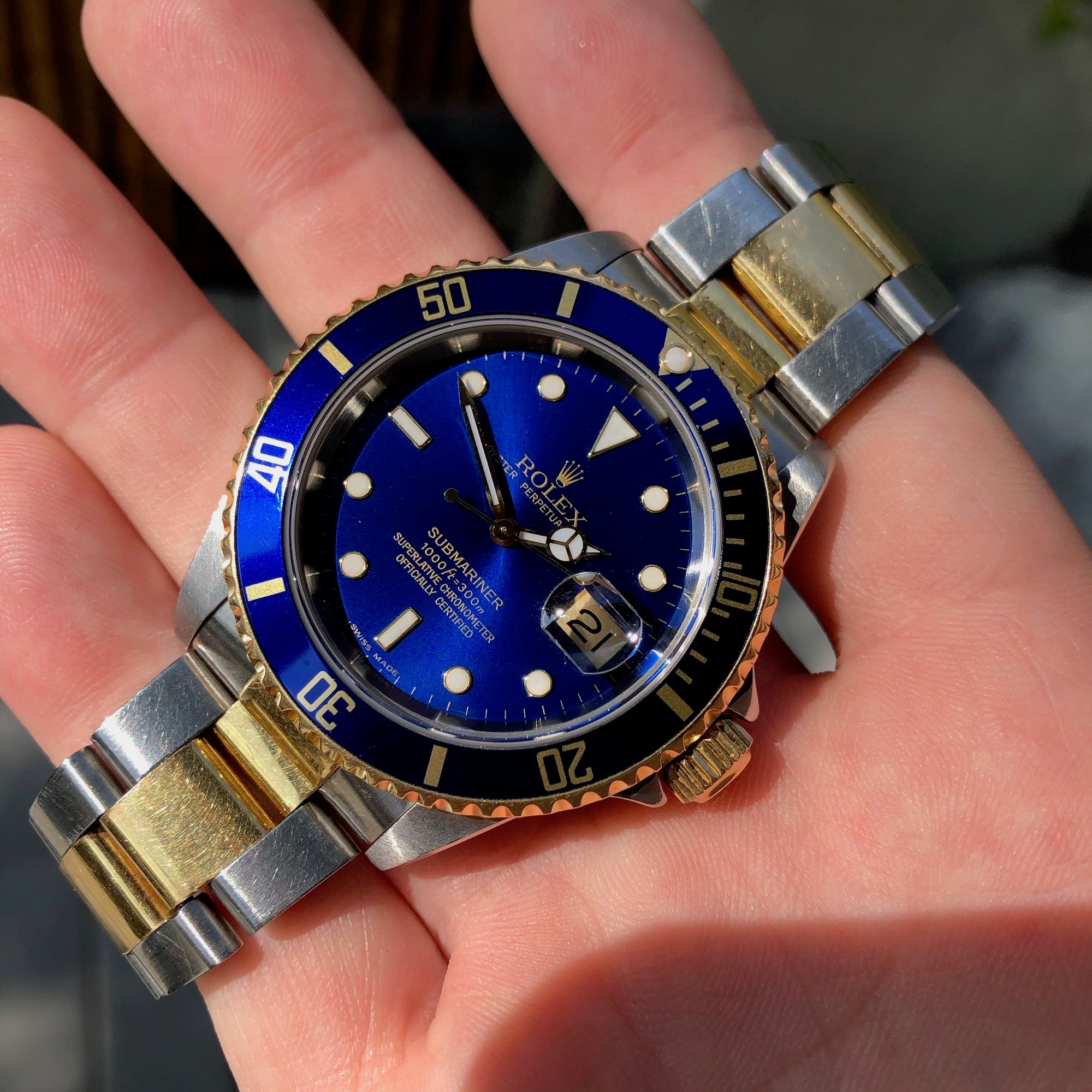 Rolex Submariner Date 16613 Two Tone Blue Steel 18K Gold Wristwatch Circa 1993 Box & Papers - Hashtag Watch Company