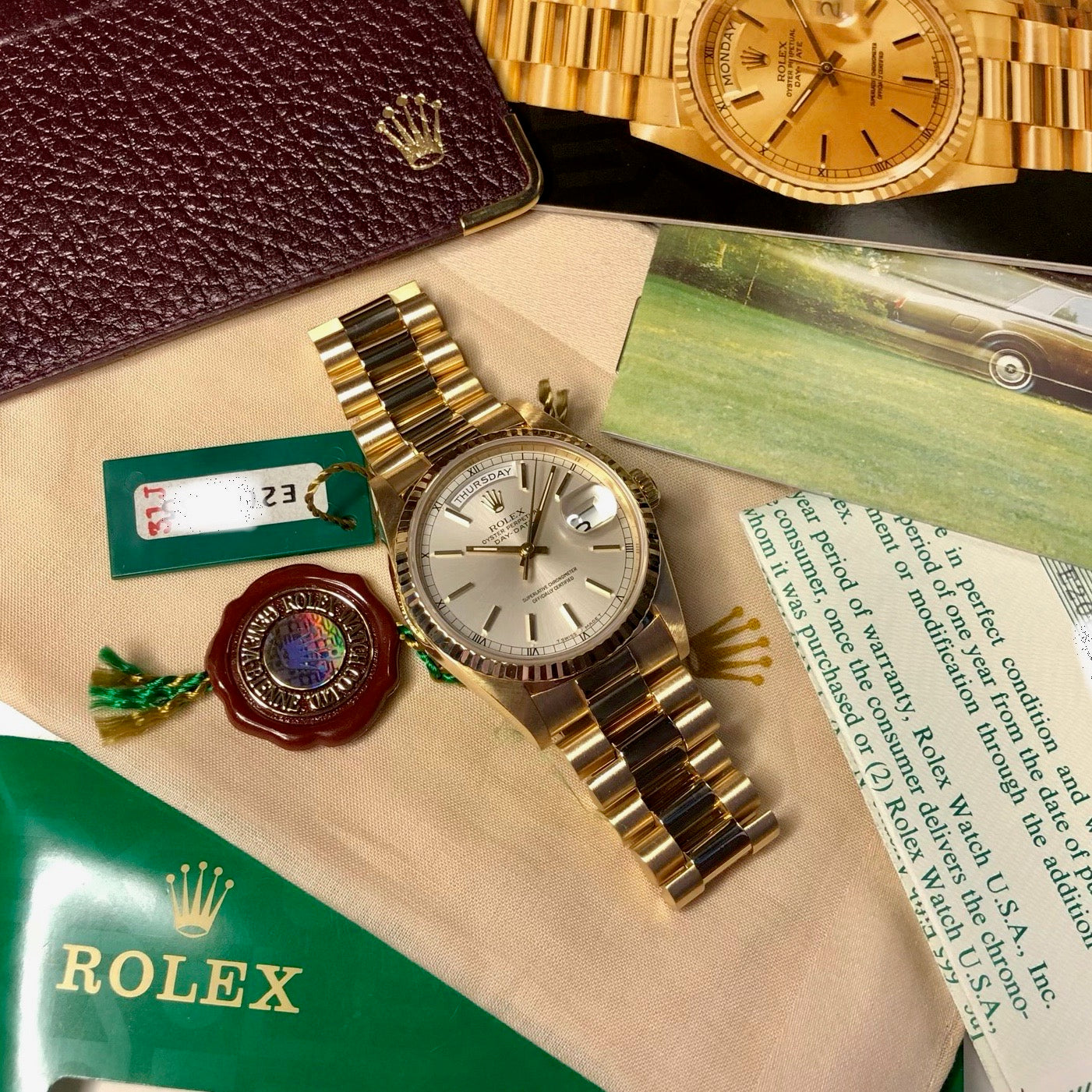 "Rolex President 18238 Day Date 18K Yellow Gold Silver Stick ""E"" Serial 1990 Box Papers MINT - Hashtag Watch Company"