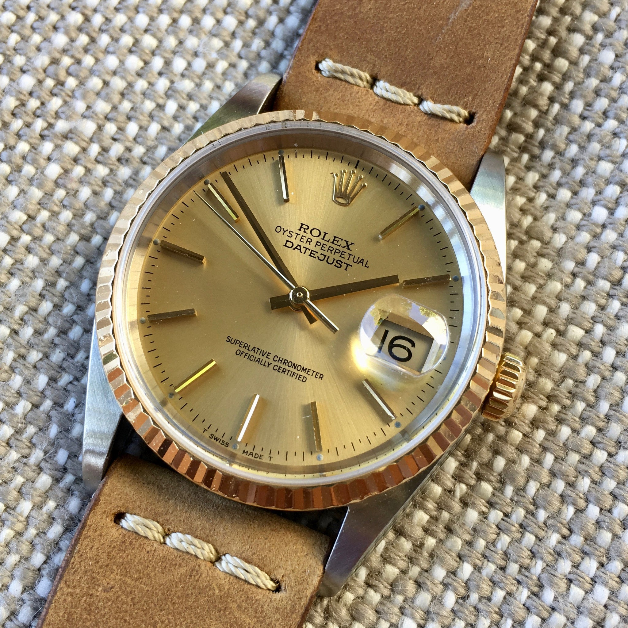 "Rolex Datejust 16233 Champagne Stick Two Tone Cal. 3135 ""K"" Serial Watch"