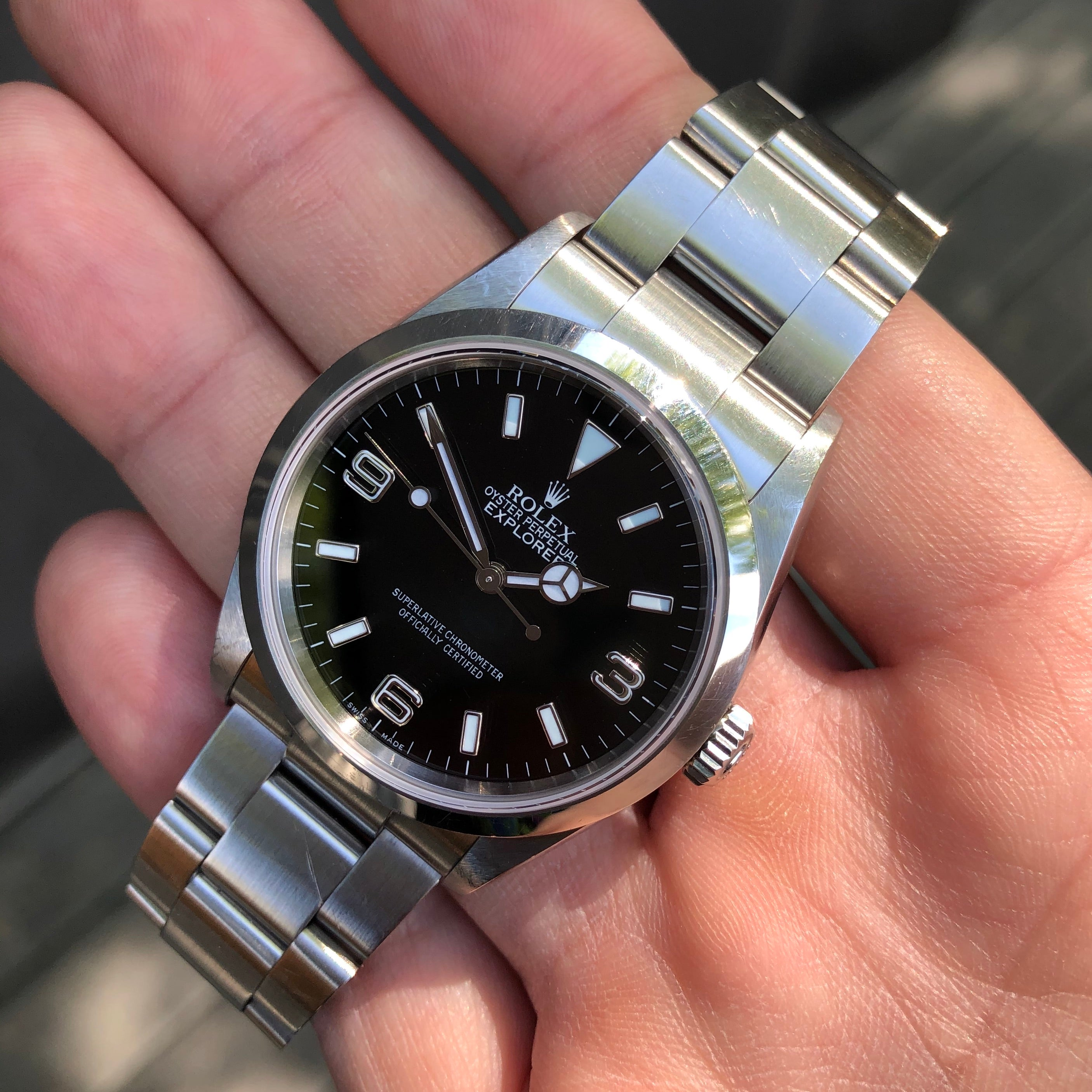 Rolex Explorer 114270 Oyster Perpetual Steel Wristwatch Box Papers Circa 2005 RSC Serviced - Hashtag Watch Company