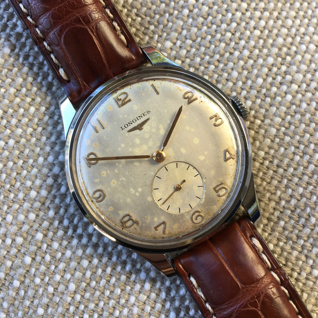 Vintage Longines 5561-8 Oversized 37mm Steel Cal. 27m Wristwatch 1950
