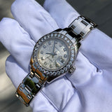 Rolex Pearlmaster 80299 Silver Jubilee Diamond Dial Bezel 18K White Gold Ladies Wristwatch Box & Papers