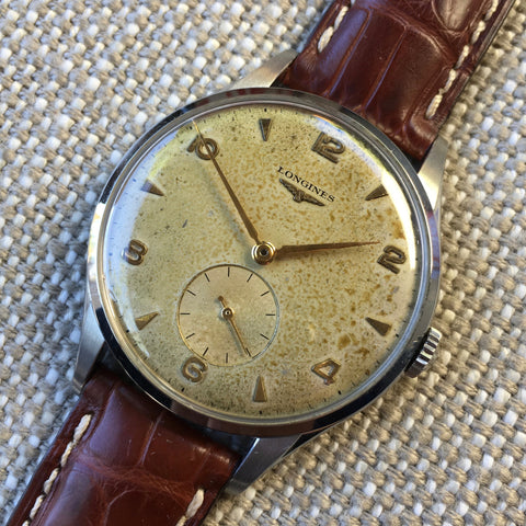 Vintage Longines 6333-3 Oversized 37mm Steel Cal. 12.68z Wristwatch 1950's