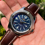 Breitling Colt Quartz Blue A7438811 Brown Leather 44mm Wristwatch Box & Papers - Hashtag Watch Company