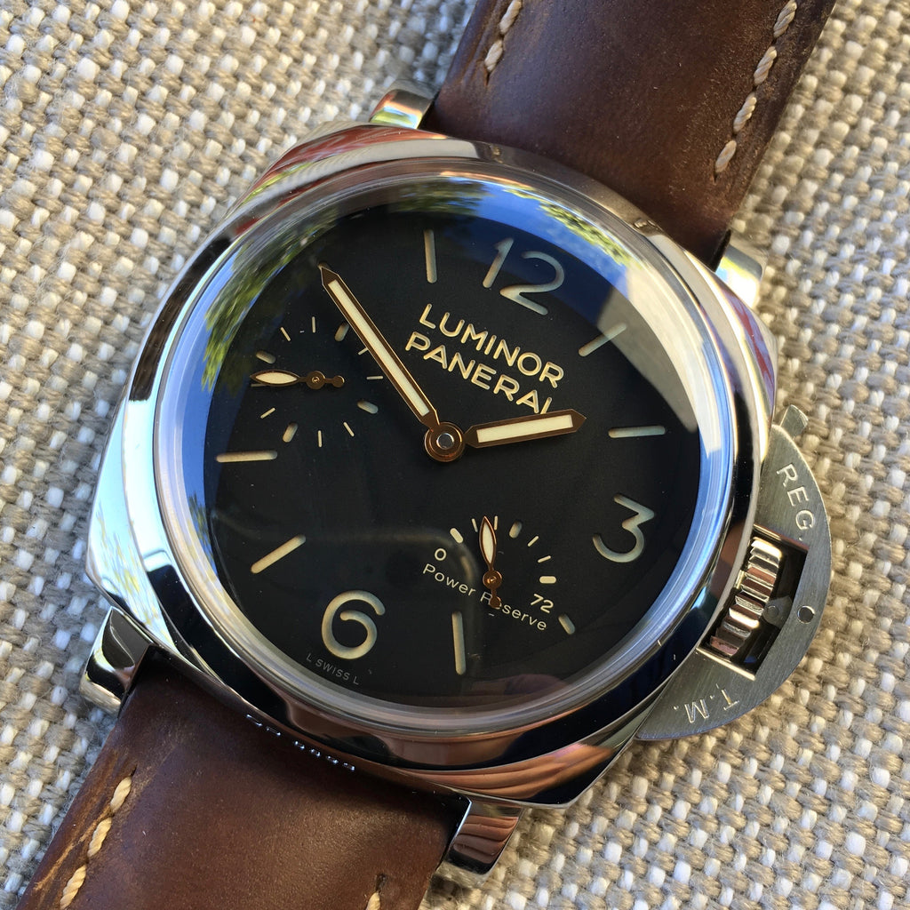 Panerai Luminor 1950 PAM 423 47mm 3 Days Power Reserve Brown Leather Wristwatch - Hashtag Watch Company
