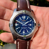 Breitling Colt Quartz Blue A7438811 Brown Leather 44mm Wristwatch Box & Papers