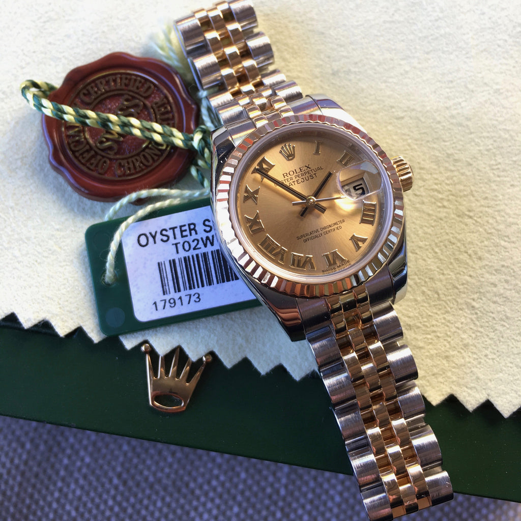 Rolex Datejust 179173 Ladies Two Tone Roman Champagne Random Jubilee Watch