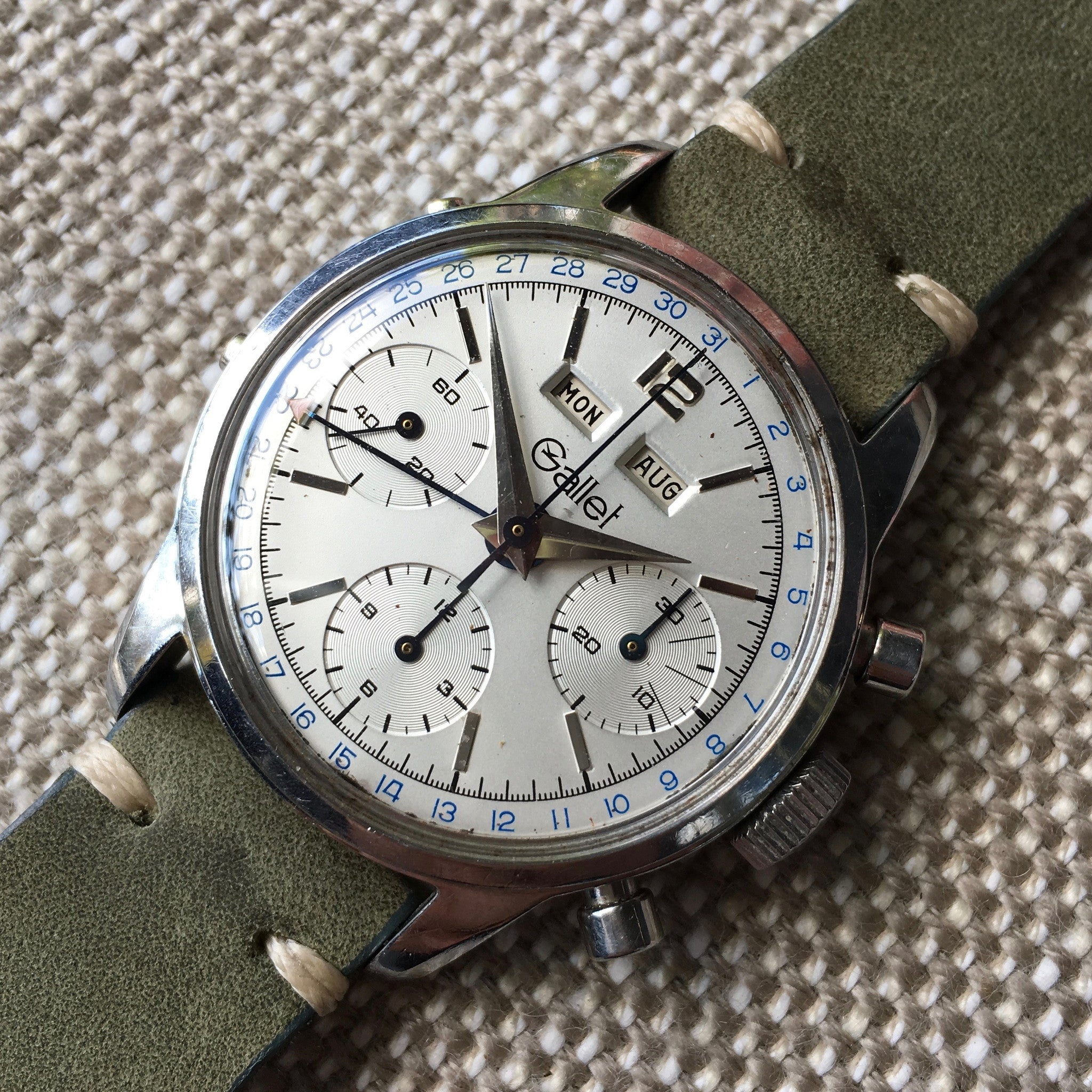 Vintage Gallet Steel Triple Date Chronograph 998 Valjoux 723 Manual Wind Wristwatch - Hashtag Watch Company