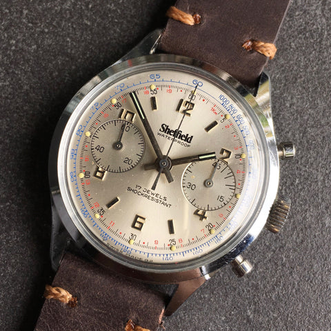 Vintage Sheffield 351-210 Waterproof Chronograph Venus 210 Manual Wind Wristwatch