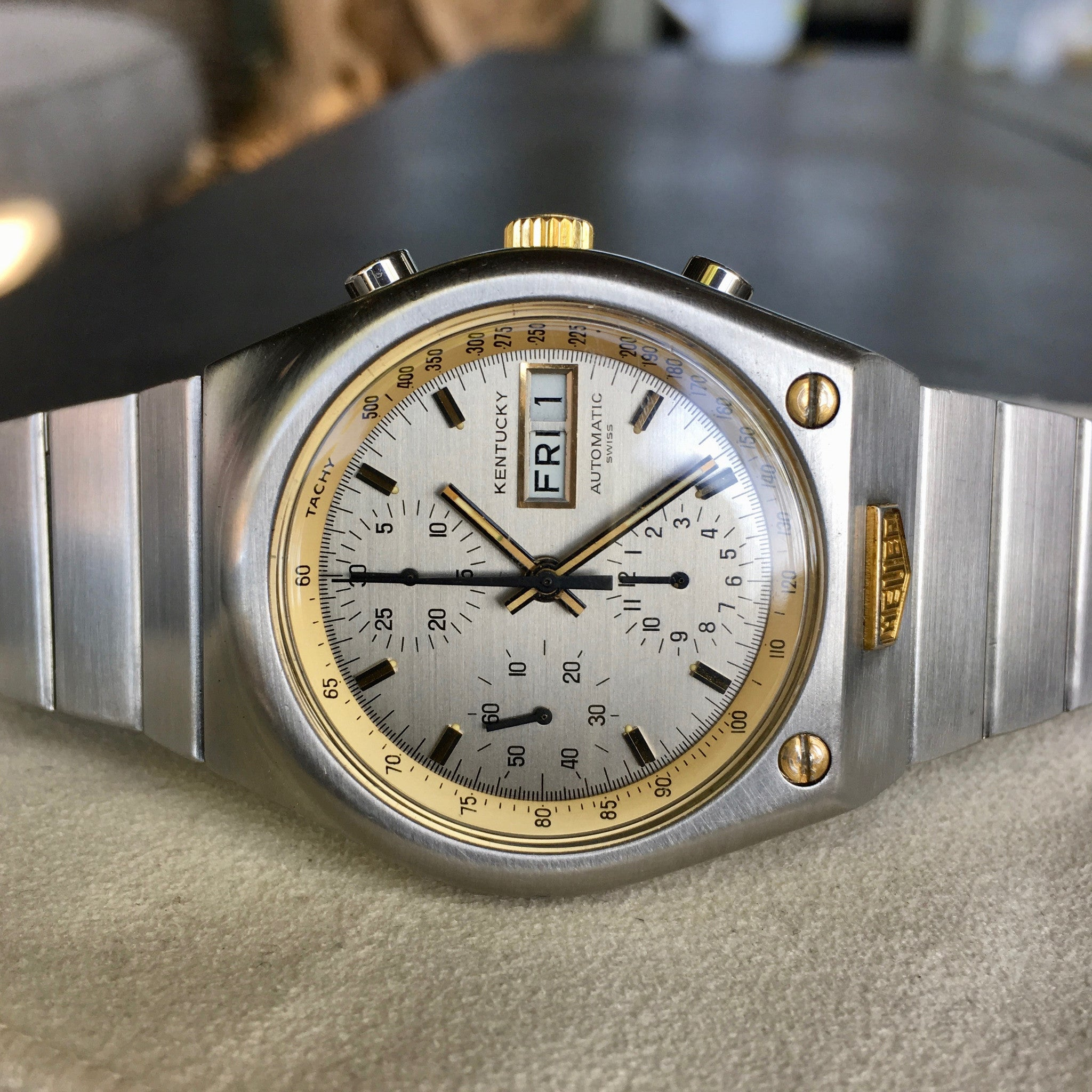 Vintage Heuer Kentucky 750.705 Steel Gold Automatic Valjoux 7750 Chronograph Watch - Hashtag Watch Company