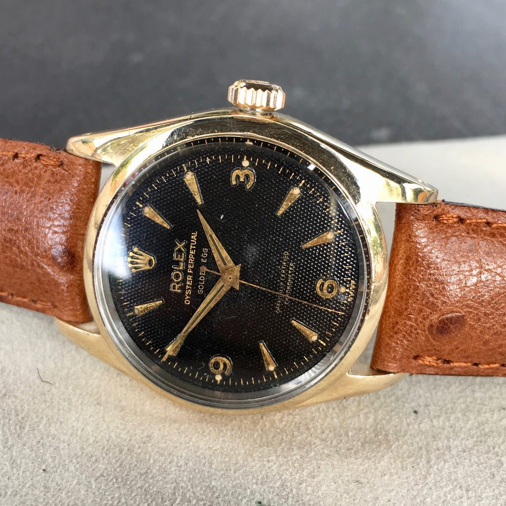 "Vintage Rolex Oyster Perpetual 6634 ""Golden Egg"" Gold Capped Gilt Black Waffle Wristwatch"