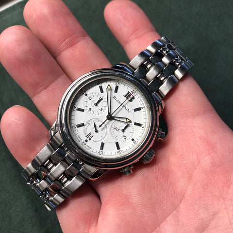 Blancpain Stainless Steel 2185 Automatic 38mm Chronograph White Wristwatch