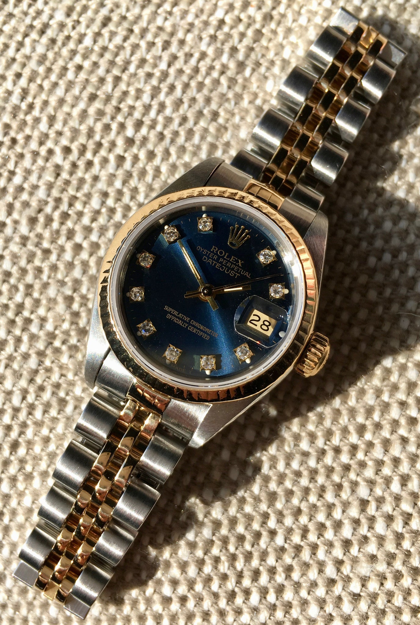 Rolex Ladies Datejust 69173 Two Tone Blue Diamond Dial