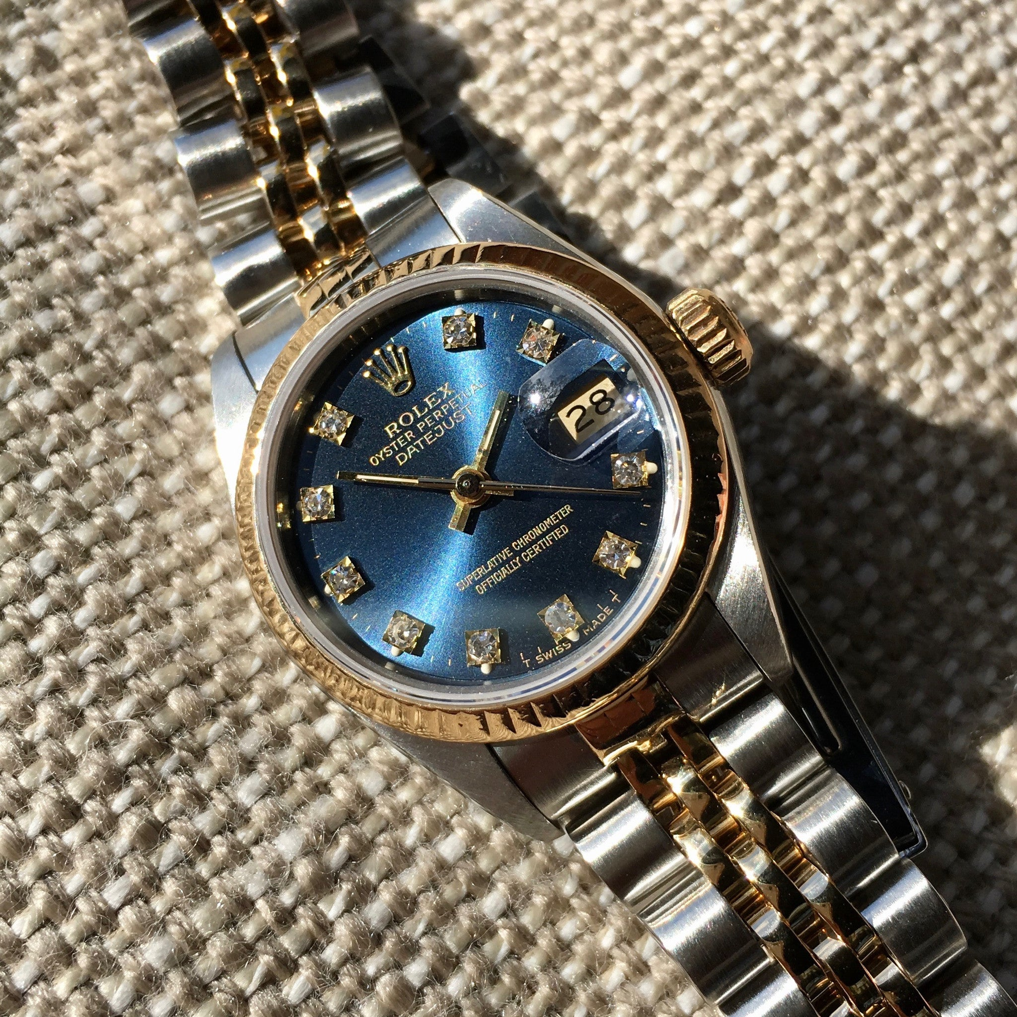 Rolex Ladies Datejust 69173 Two Tone Blue Diamond Dial Steel 18K Wristwatch - Hashtag Watch Company