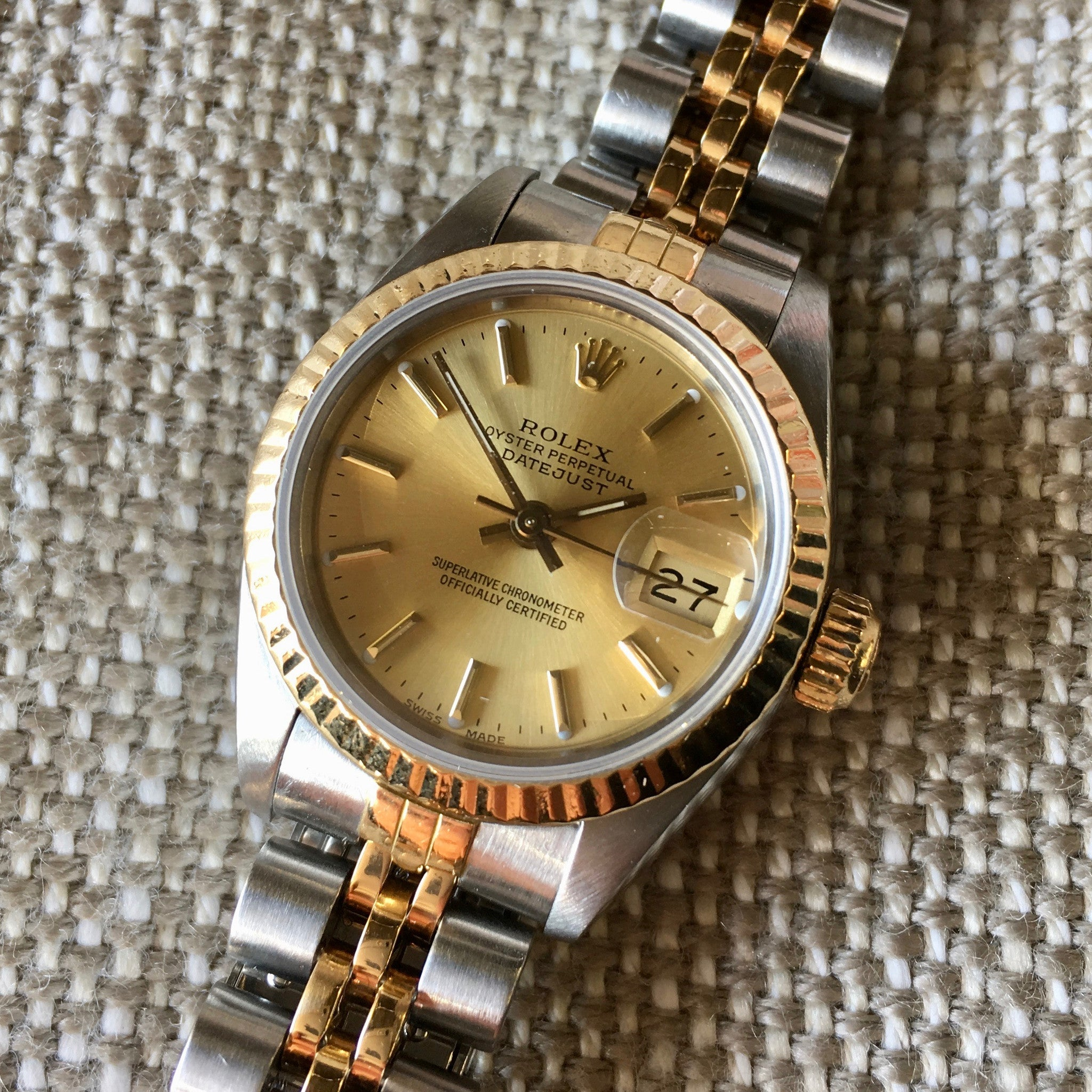 4ee703b1666 ... Rolex Ladies Datejust 69173 Two Tone Champagne Stick Dial Steel 18K  Wristwatch ...