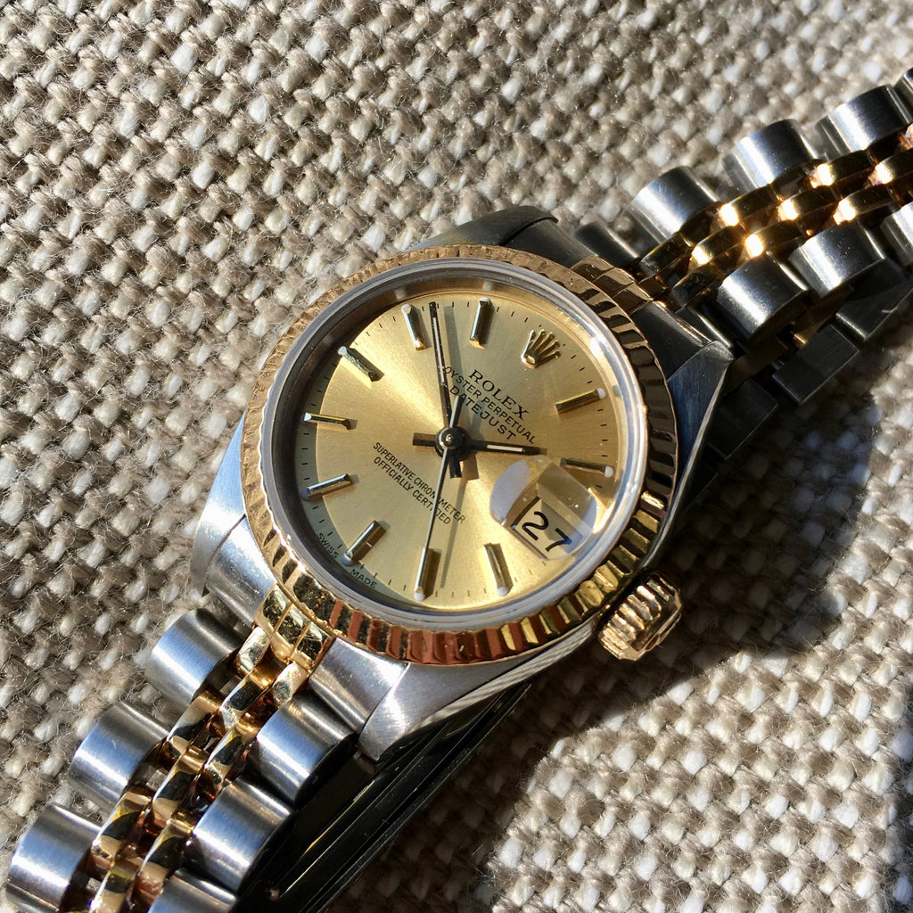 Rolex Ladies Datejust 69173 Two Tone Champagne Stick Dial Steel 18K Wristwatch
