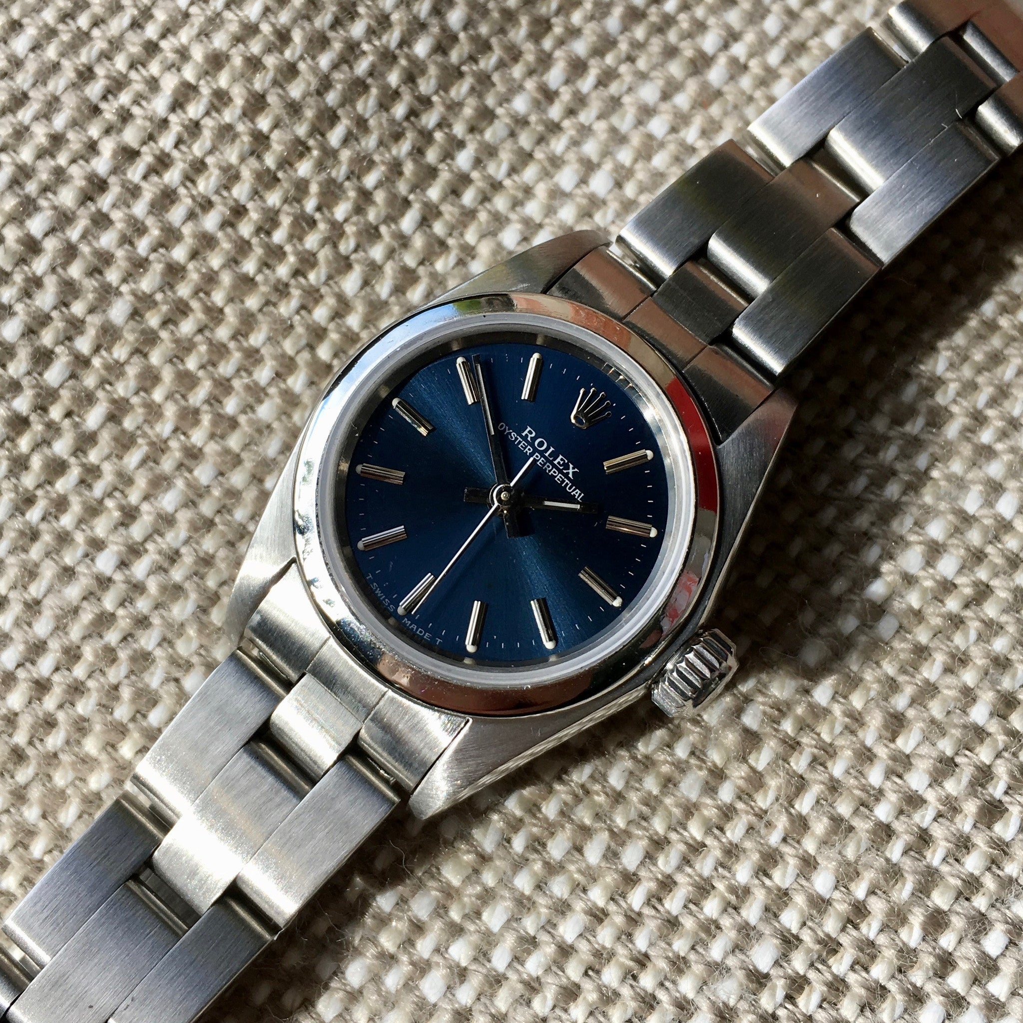 Rolex Ladies Oyster Perpetual 67180 Blue Stick Stainless Steel Wristwatch