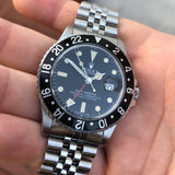 1982 Vintage Rolex GMT MASTER 16750 Black Jubilee Transitional Wristwatch Box Papers - Hashtag Watch Company