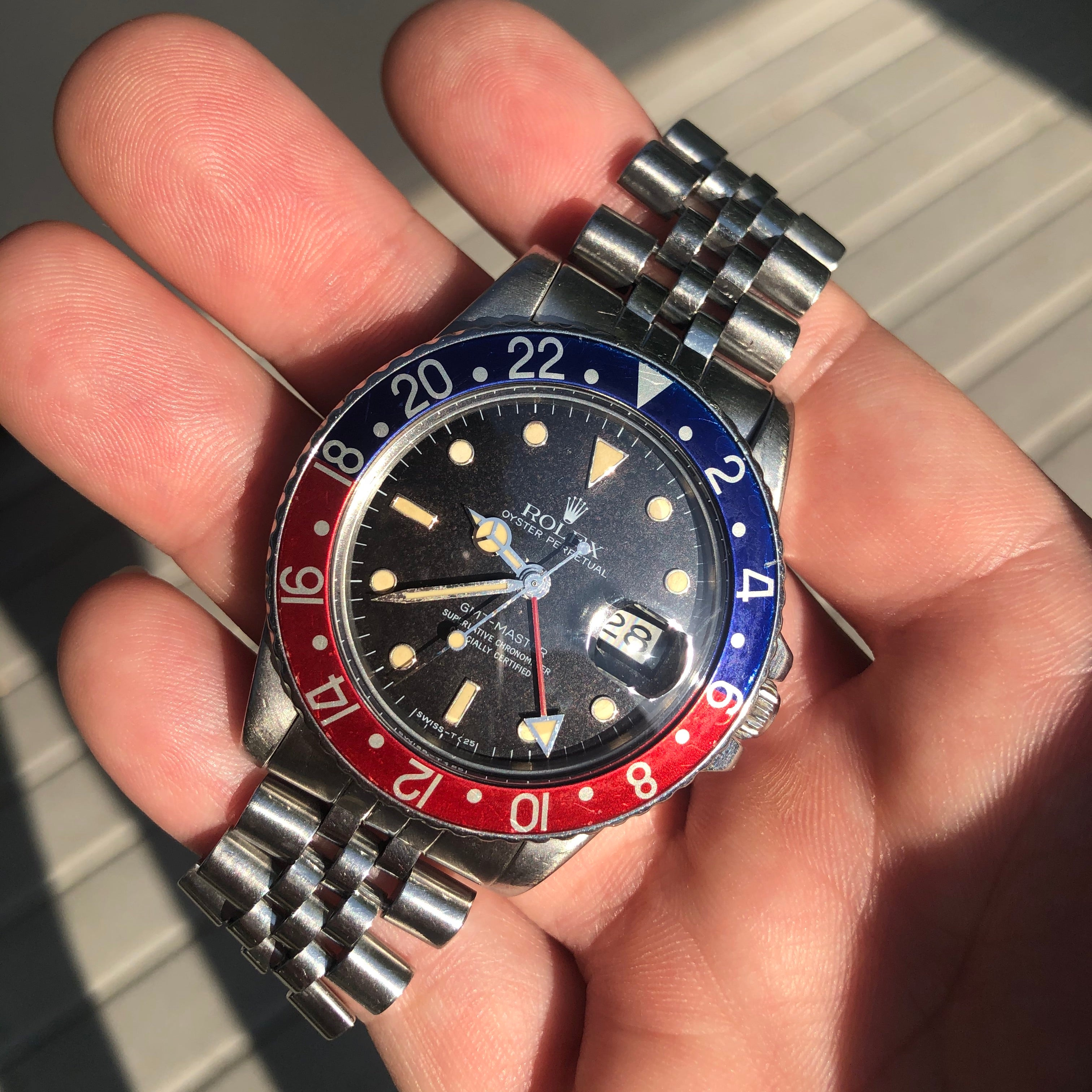 Vintage Rolex GMT MASTER 16750 Pepsi Jubilee Bracelet Wristwatch Circa 1984 - Hashtag Watch Company