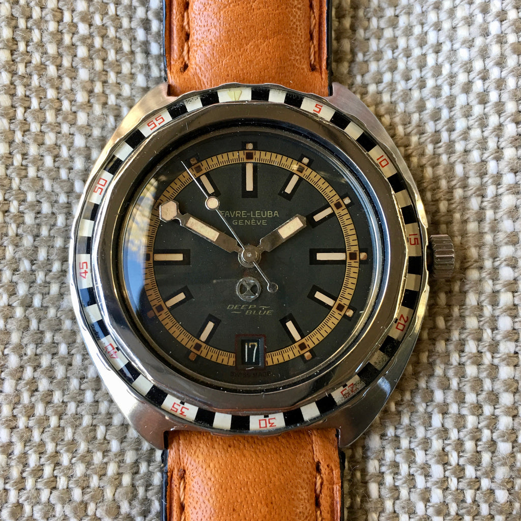 Vintage Favre Leuba Deep Blue TROPICAL 59863 Steel Divers Automatic Wristwatch