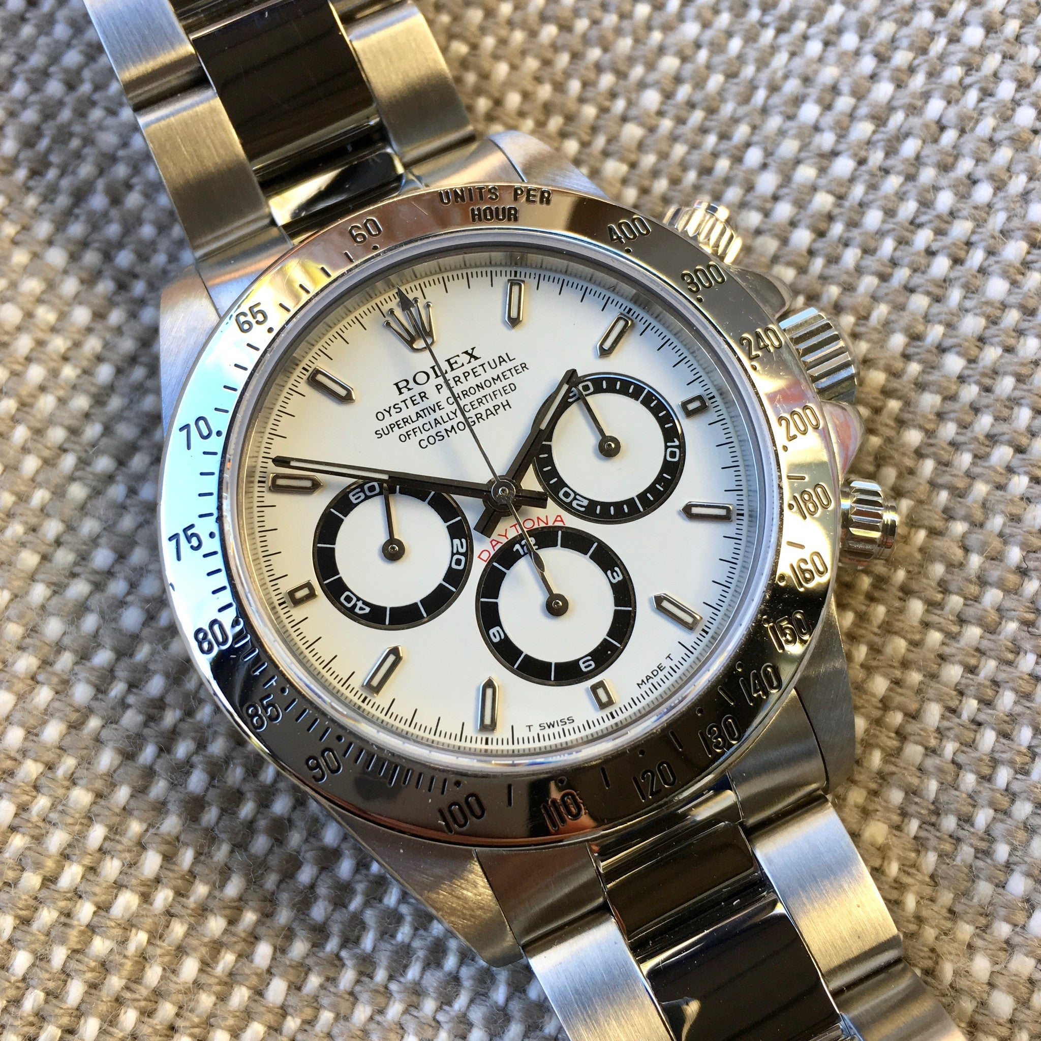 "Rolex Daytona 16520 Zenith White Chronograph ""U"" Serial 1997 Steel Wristwatch - Hashtag Watch Company"