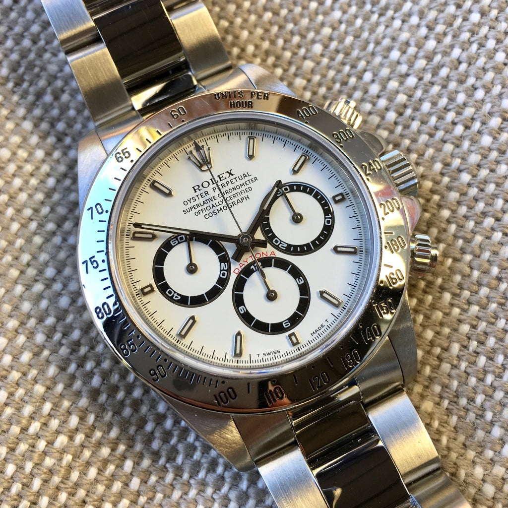 "Rolex Daytona 16520 Zenith White Chronograph ""U"" Serial 1997 Steel Wristwatch"