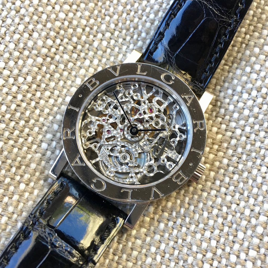 Bvlgari 18K White Gold BB.W.33.GL.SK.P Skeleton Leather Wristwatch