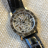 Bvlgari 18K White Gold BB.W.33.GL.SK.P Skeleton Leather Wristwatch - Hashtag Watch Company