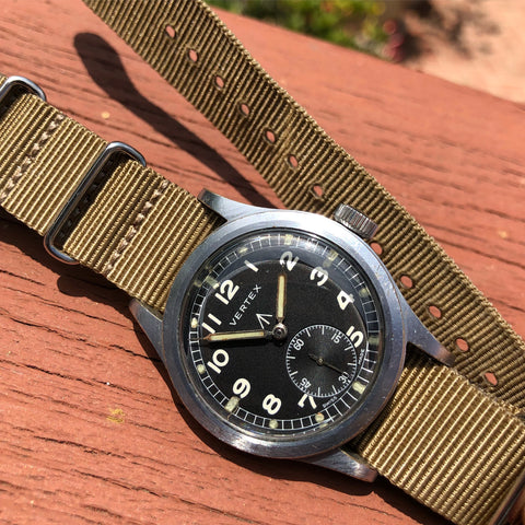 Vintage Vertex WWW Military Dirty Dozen British Military WWII Black Wristwatch