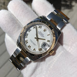Rolex Datejust 116233 White Roman Two Tone Steel Gold Oyster Wristwatch Box & Papers Circa 2018 New Unworn