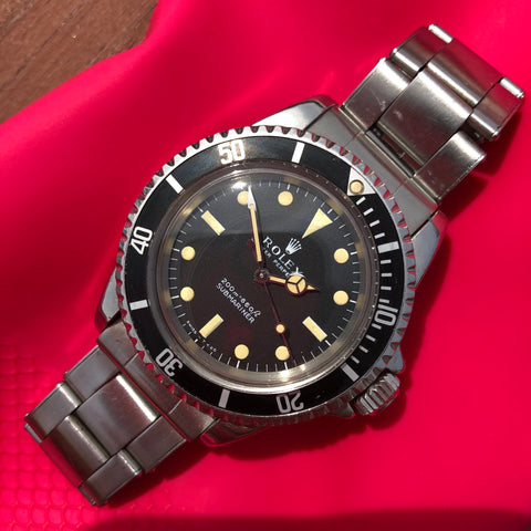 1967 Vintage Rolex Submariner 5513 Meters First Matte Black Wristwatch