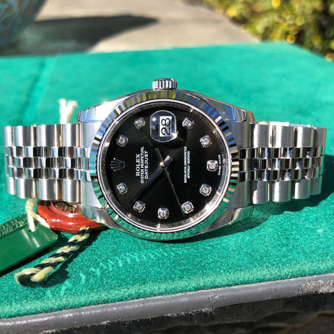 Rolex Datejust 116234 Black Diamond 36mm Jubilee Wristwatch Box & Papers New Unworn
