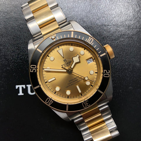 2020 Tudor Heritage Black 79733N Bay Two Tone Steel Gold Automatic 41mm Men's Wristwatch