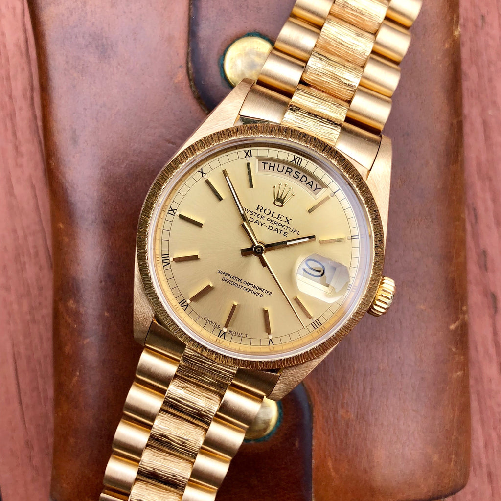 Rolex President 18038 Bark Day Date 18K Yellow Gold Circa 1985